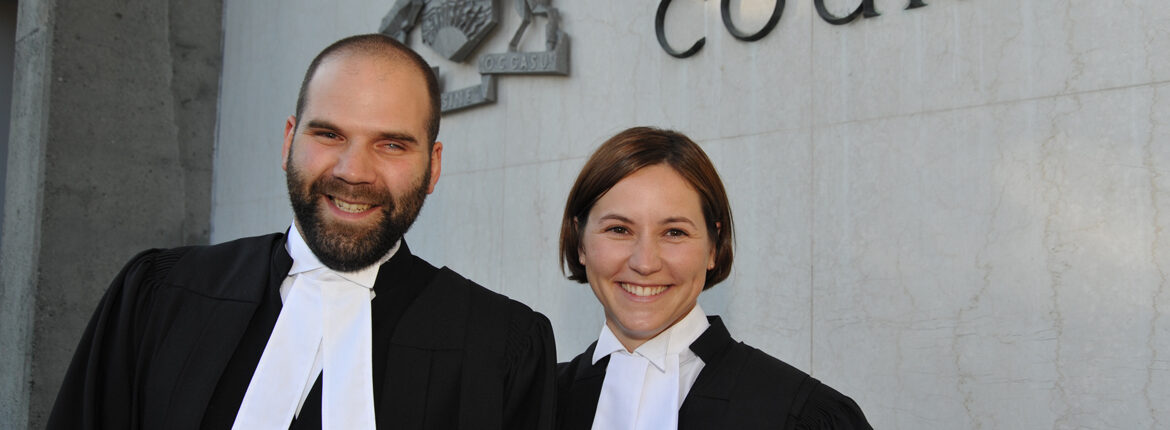 Former ELC Articled Students (l-r) Tim Thielmann and Jennifer Smith at their Call to the Bar Ceremony in Victoria, BC (2009)