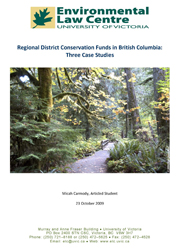 Regional District Conservation Funds in British Columbia: Three Case Studies
