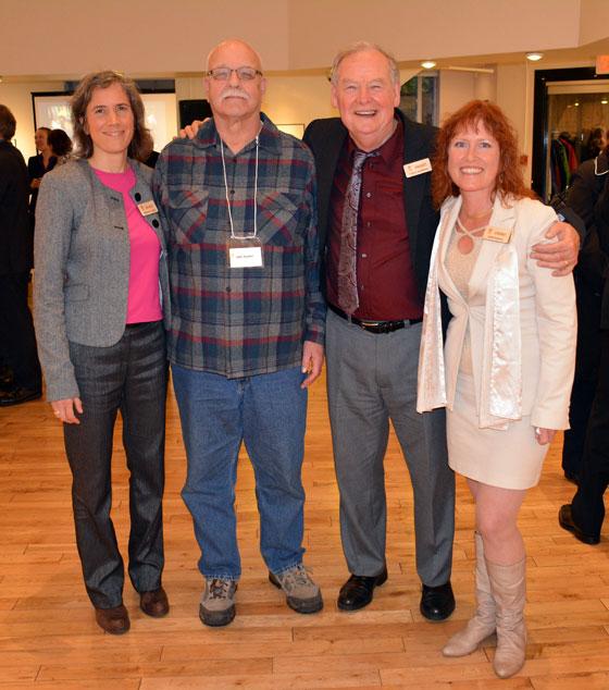 (L-R) Deborah Curran (ELC Acting Executive Director), John Snyder (Comox CoalWatch) Holly Pattison (ELC Paralegal Administrator) and Calvin Sandborn (ELC Legal Director) (Photo courtesy of UVic Law)